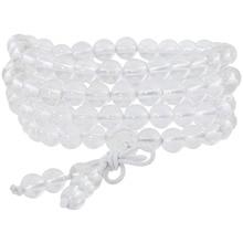 SUNYIK Natural Rock Quartz Crystal 6mm Buddhist Buddha Meditation 108 Prayer Bead Mala Bracelet/Necklace