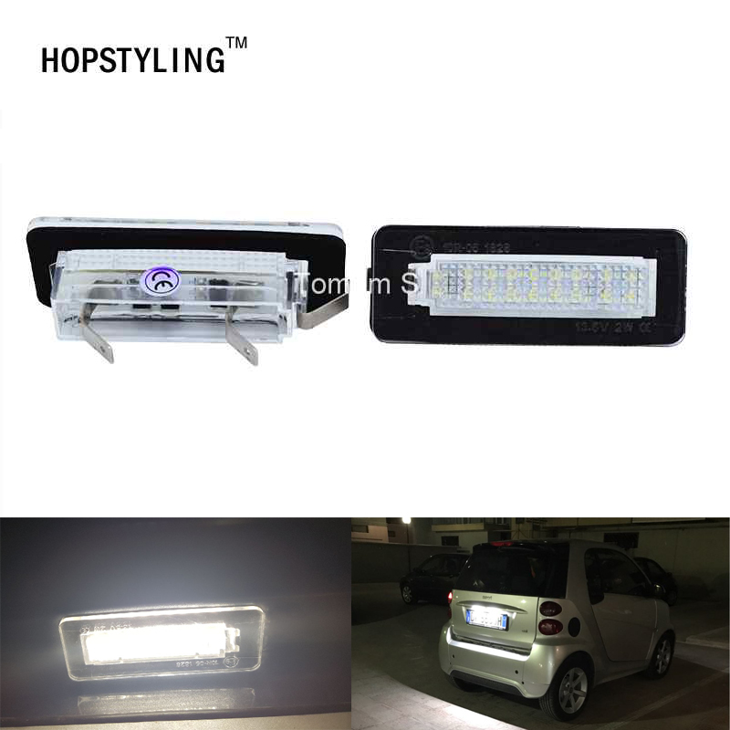 For Mercedes Benz Smart Fortwo W450 W451 W453 LED rear number plate lamps Canbus No Error Code car-styling accessory 2x led car styling canbus no error code license plate lamp for smart fortwo rear number plate light auto accessory