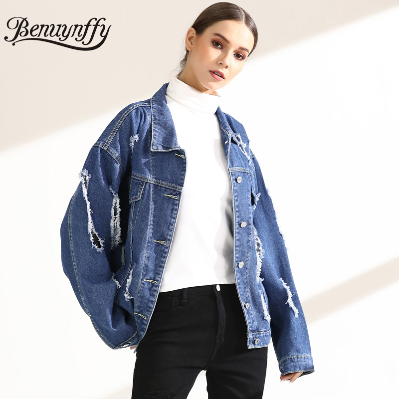 89c35414a7 Benuynffy Loose Casual Boyfriend Hole Denim Jacket Outwear 2018 Spring Women  Lapel Long Sleeve Ripped Jean Jackets and Coats