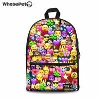 WHOSEPET Backpack Women Emoji Face Printing School Bag for Girls Laptop Rucksack Student Campus Bagpack Feminina Daypack Mochila