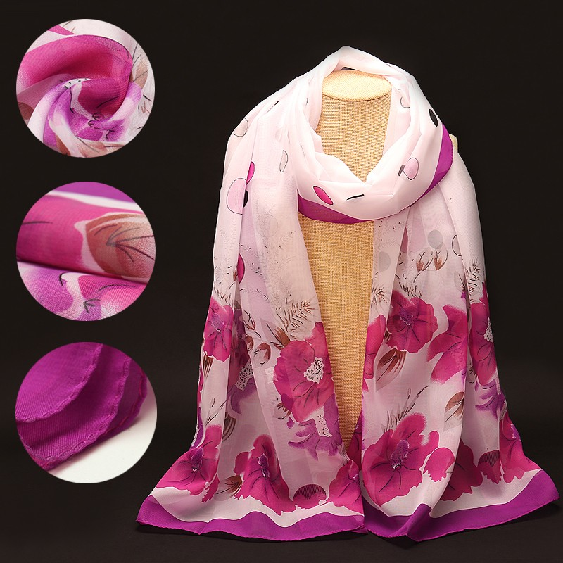 Flowers Dots Chiffon Scarf | Lightweight Scarves