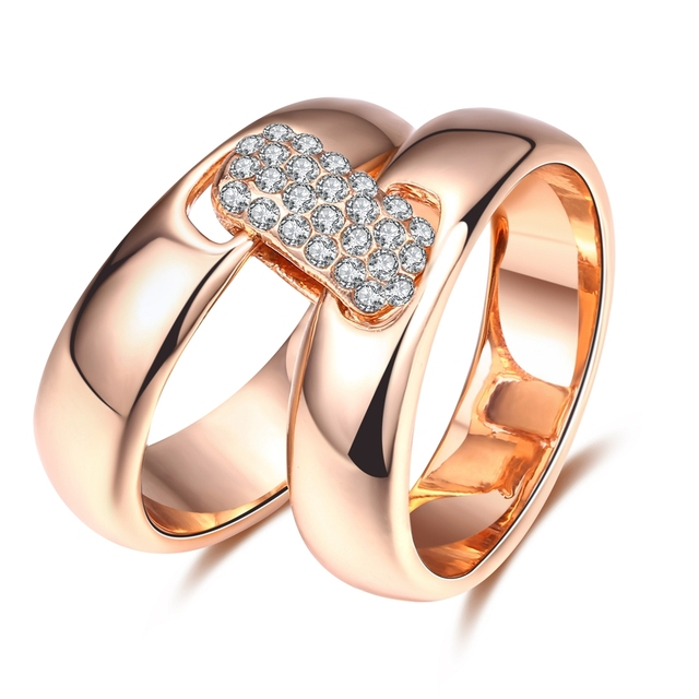 ROXI Brand Rose Gold Color Ring For Women Fashion Wild Square Set of Zircon 2 Rings anillos Body Jewelry For Wedding Ring Set
