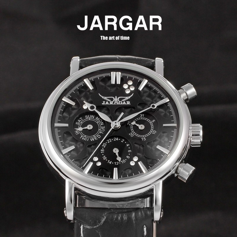 Jargar Automatic Men Watch Black Genuine Leather Band Mechanical Wristwatches with Gift Box gucamel automatic mechanical watch hollow out design genuine leather band for men