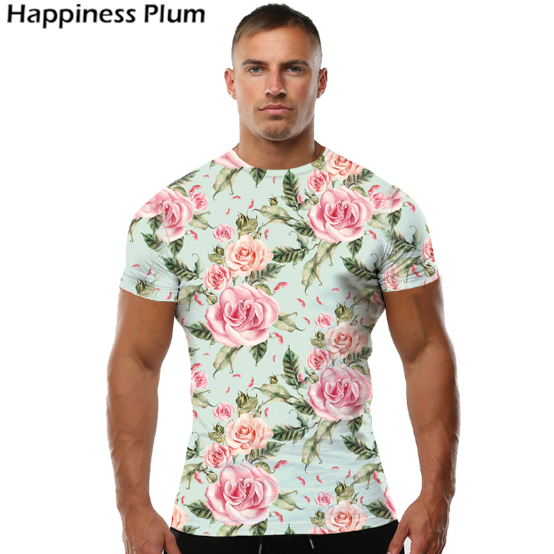Flower t shirt men short sleeves mens brand clothing sexy for Floral mens t shirts