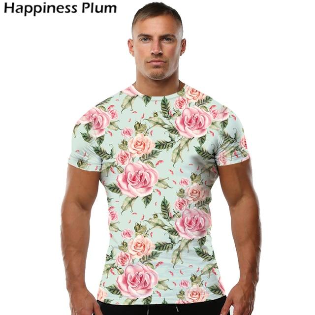Kyku flower t shirt men women sexy tshirt hawaiian for Floral mens t shirts