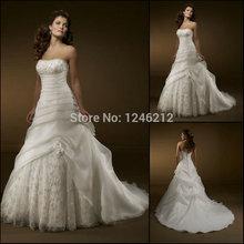 2015 New Arrival White/Ivory Elegant A-line Strapless Beaded Organza Lace Bridal Gown Wedding Dress Vestido de Noiva