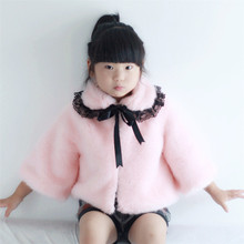 2017 fashion baby kids clothes winter warm thicken coats girls faux rabbit fur jackets children solid outerwear faux fur 80-150
