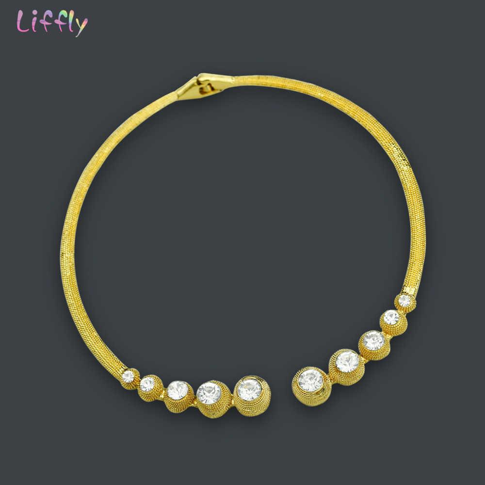 Liffly Mode Afrikanische Perlen Schmuck-Set Marke Luxus Dubai Gold-farbe Schmuck Set Nigerian Frauen Hochzeit Braut Schmuck Sets