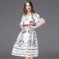 2018 Dresses New Fashion Summer Style Women Square Collar Lace Embroidery Print Patchwork Short Sleeve Vintage Retro Dress OL