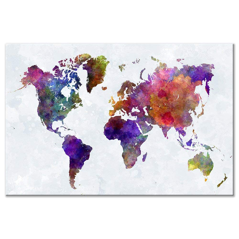 Colourful Color World Map HD Canvas Print Stretched and Framed Canvas Wall Art for Wall Decor and Home Office Decor