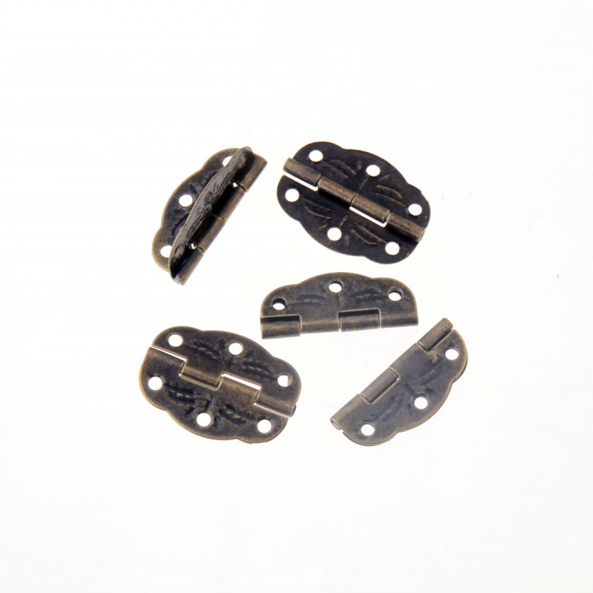 Free Shipping-12pcs Antique Bronze Tone Hardware 6 Holes DIY Box Butt Door Hinges (Not Including Screws) 30x22mm