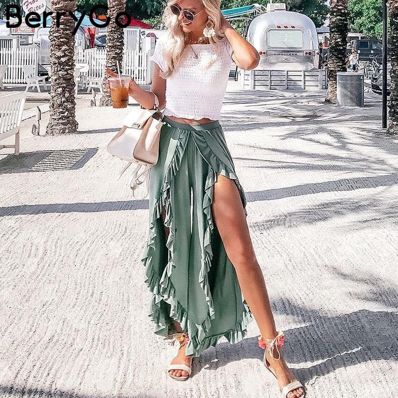 BerryGo Vintage ruffle casual pants capri High waist baggy split fashion pants women Retro wide leg female trousers bottoms 2018