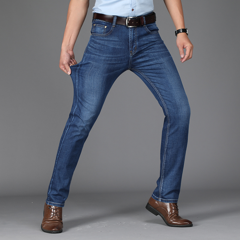 2018 Mens Jeans Casual Business Worksuit Straight Fit Stretch Jeans Slant Pockets Long Trouser Elasticity Big Size