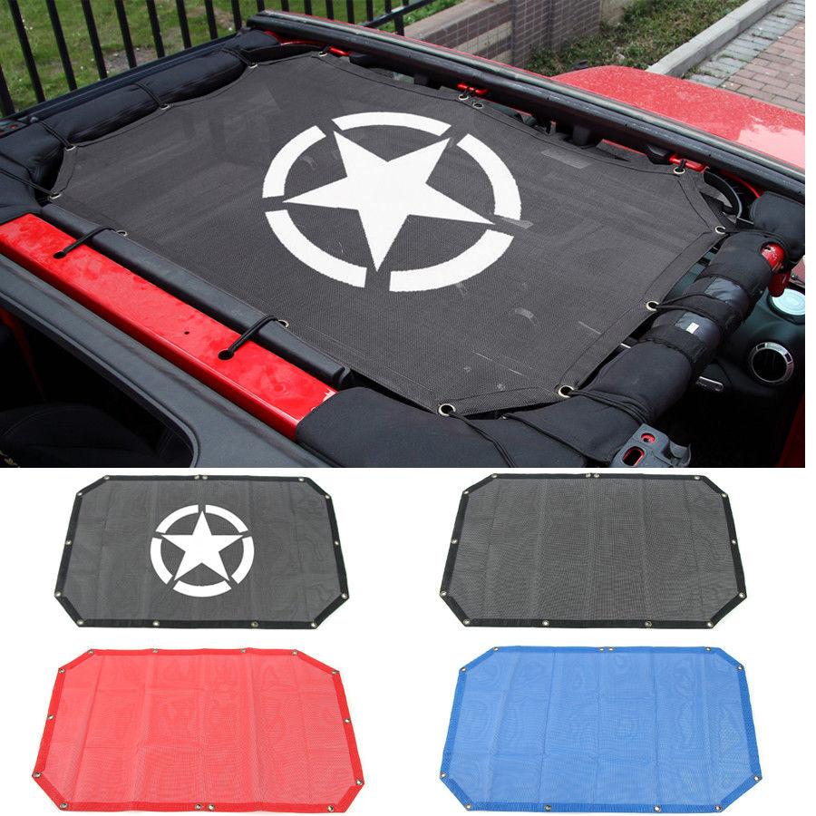 Cubierta superior de malla de poliéster resistente que proporciona protección solar UV para Wrangler de 2 puertas  JK o JKU 2007-2016 con malla de malla para parasol color negro SKUNTUGUANG
