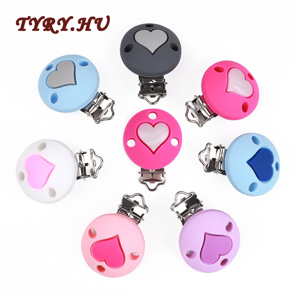 TYRY.HU 1Pc Silicone Baby Pacifier Clips Silicone Heart Nipple Clips Holder For Baby Teething Corw Accessories Baby Shower Gift