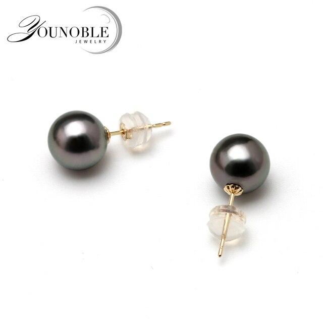 Anti Allergic Real 18k Gold Earrings Round Seawater Tahitian Black Pearls Stud S Jewelry