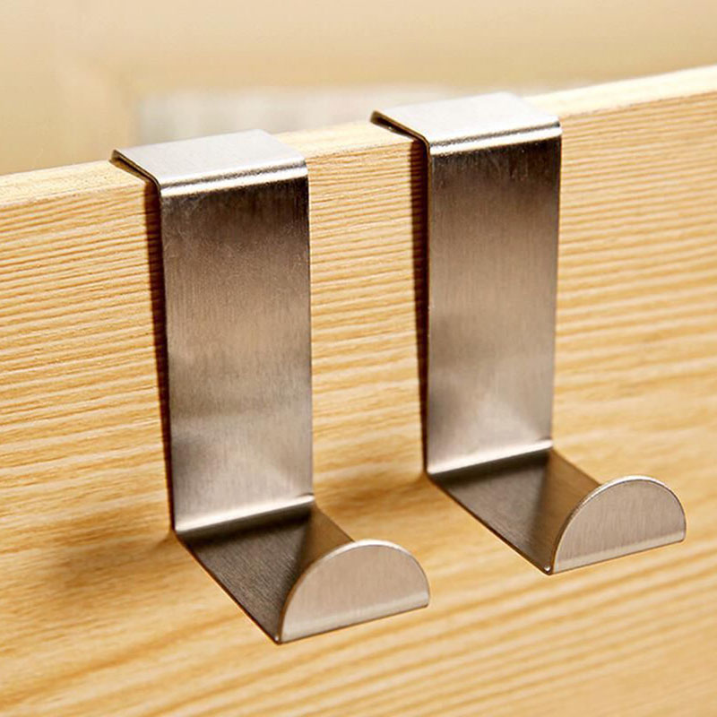 2x Stainless Steel Over Door Hook*Kitchen Cabinet Clothes Hanger Holder FO