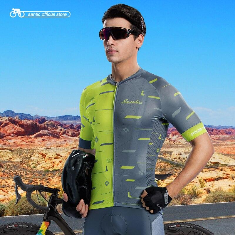 Santic Men Cycling Short Sleeve Jersey Race Fit Bike Jersey Shirt Cycling Summer Jerseys Cycling Team