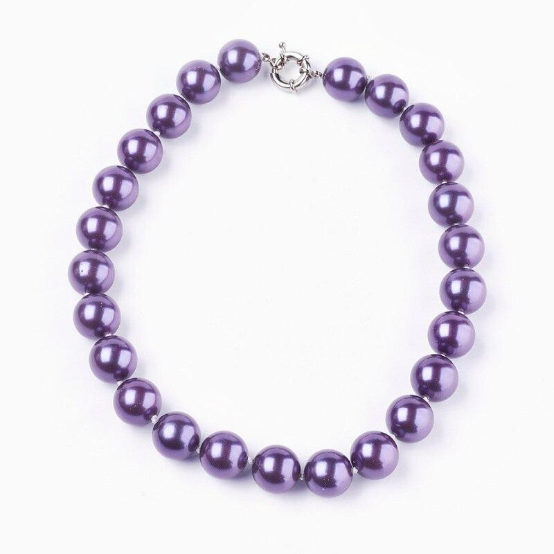 Colliers en perles naturelles pour femmes, avec fermoirs à ressort en laiton, BlueViolet F70