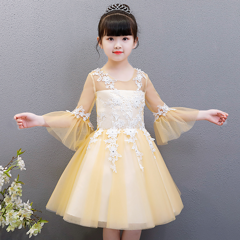 Children Girls Embroidery Lace Princess Birthday Wedding Party Ball Gown Dress Kids Sweet Cute Dance Host Flare Sleeves Dress guipure lace overlay fit and flare dress