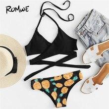 3b9e15ad62 Romwe Sport Pineapple Print Wrap Bikini Set 2018 New Arrival Summer  Multicolor Woman Swimwear Knot Vacation Push Up Bikinis