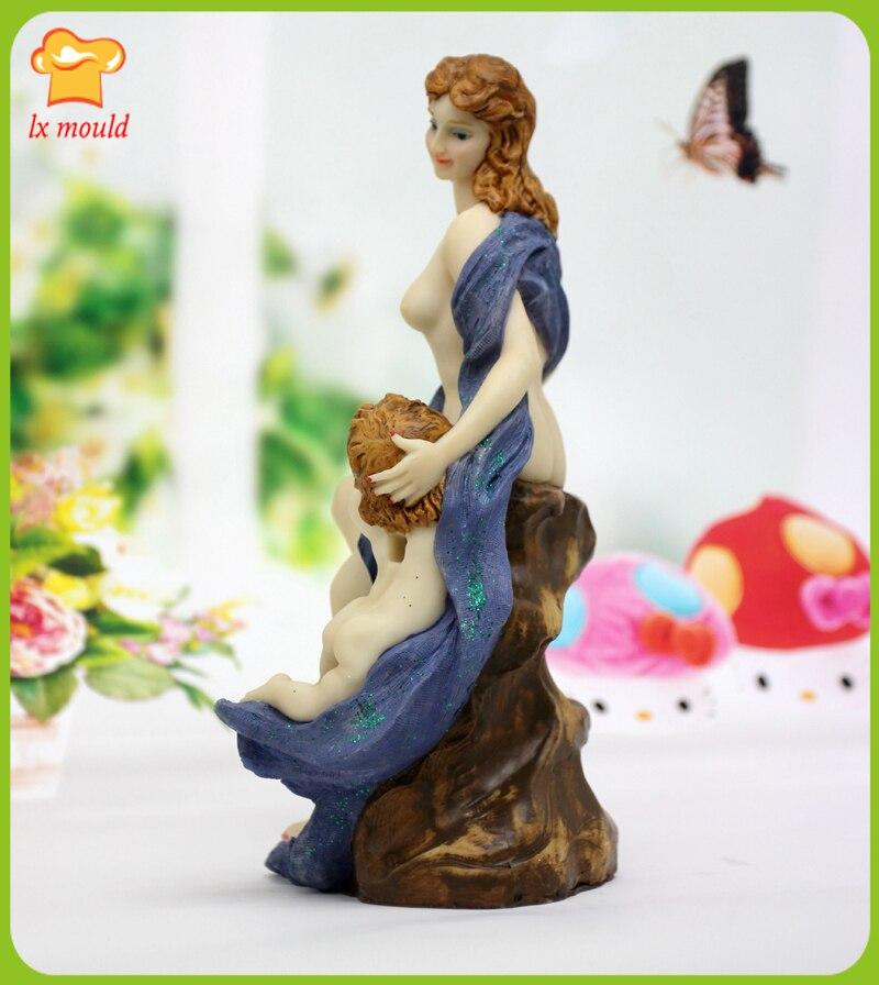 Tout le réseau exclusif 3D déesse statue bougies silicone moule résine argile plâtre main décoration moule