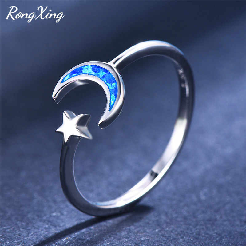 RongXing 925 Sterling Silver Stars Moon Ring Blue/White Fire Opal Stone Adjustable Rings for Women Engagement Minimalist Jewelry