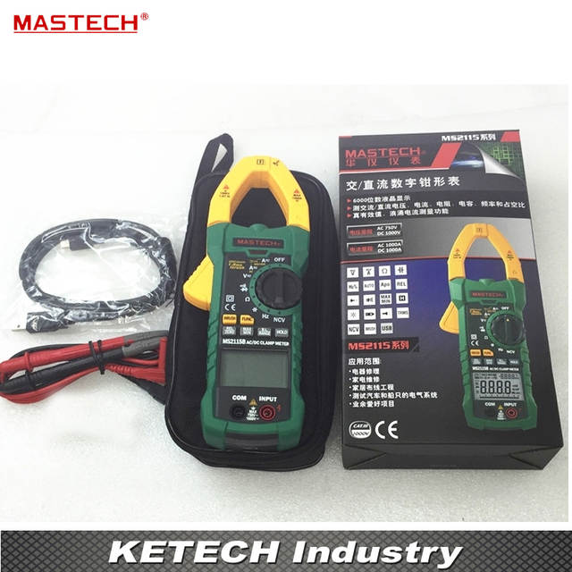 US $76 14 6% OFF|DIGITAL CLAMP METERS DC/AC Voltage Current Resistance  Capacitance Tester True RMS with USB Data Acquisition MASTECH MS2115B-in  Clamp