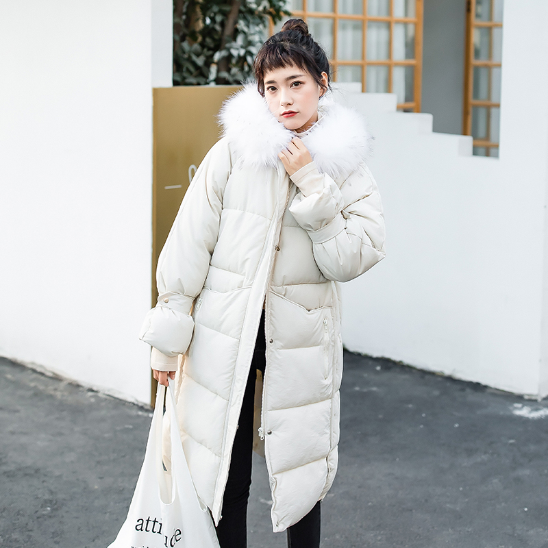 Winter new cotton jacket small fresh long cotton coat with hood big fur collar winter jacket