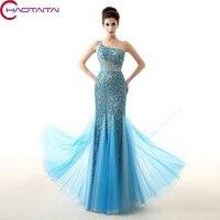 Sleeveless Elegant Blue Lace Mermaid Evening Dress Beaded Shiny Crystal One Shoulder Prom Dresses Latest Design