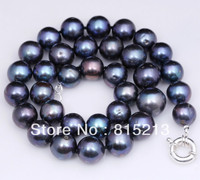 ddh00589 LARGE GENUINE BLACK GRADUATED CULTURED FRESHWATER PEARL NECKLACE SILVER 28% Discount (A0513)