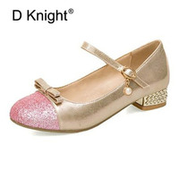 Plus Size 30 43 Women Pumps Sweet Girl Princess Lolita Shoes Bling Bow Buckle Strap Mary Janes Female Student Performance Shoes