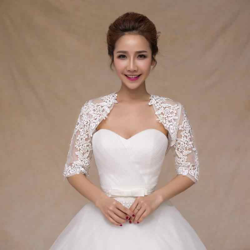 f6ed3776c4f76 White Lace Bridal Formal Jackets Cape Mariage 2019 Women Evening ...