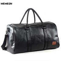 Men's Leather Sports Training Bag Durable Gym Bags for Men Fitness Military Training Handbag Leather Travel Luggage Tote