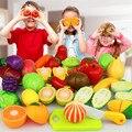 Clássico Brinquedos Cozinha Food Vegetable & Fruit Brinquedos Kits, brinquedos educativos Supermercado carrinho de Compras Carrinho de Brincar de Casinha Brinquedos Presentes De Corte De Alimentos