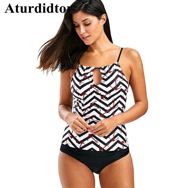 b22b6b3a4b4cd Keyhole Neck Anchor Tankini Swimwear Padded Zigzag Print Strap Open Back  Top two Piece Seperate Swimsuit
