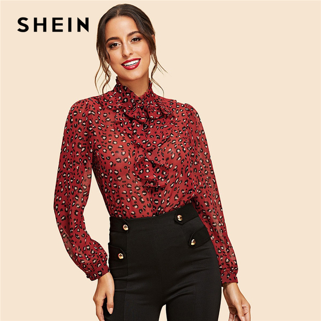 6544e63aa5 SHEIN Red Button Up Leopard Print Ruffle Shirt Vintage High Neck Bishop  Sleeve Blouses Women Autumn Elegant Placket Blouse