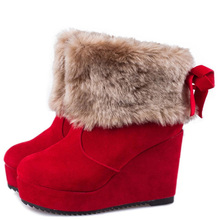 Free Shipping Boots Women 2017 New Autumn Winter Snows Boots Fashionable Wedges Single Boots Cotton Shoes Wholesale 37z