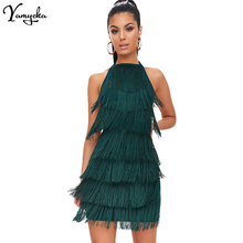 Sexy Halter Black summer dress women befree Backless bandage green tassel Party Dresses elegant Night club vestido clothes New шапка befree befree mp002xw11xbu