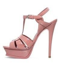купить Candy Color Patent Leather Platform Sandals T-bar Ankle Buckle Strap Thin High Heels Women Sandals Plus Size Banquet Dress Shoes по цене 4064.7 рублей