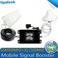 2016 Novo tipo! 1 conjunto Bual band GSM 900/2100 mhz Smart Mobile WCDMA 3G Repetidor de Sinal de telefone Celular Impulsionador do Sinal do telefone com LCD