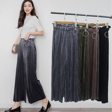 Fashion Metallic Loose Casual Velvet Wide Leg Pants Trousers For Women 2017 Large Size High Waist Pleated Pants Women Culottes(China)