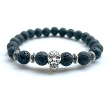 Grinning Silver Skull Natural Stone Bracelet(China)