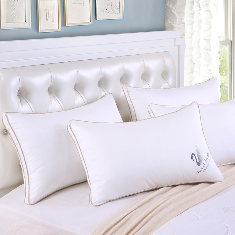 White goose feather pillow cotton cover five star hotel pillow adult single