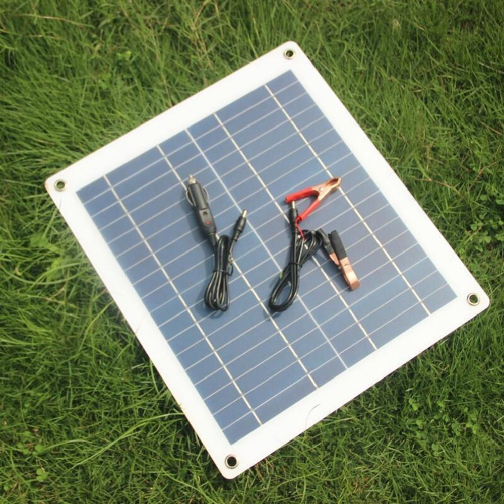 30W 18V Solar Panel Charger Semi flexible Solar Panel High Efficiency Battery Charger with Alligator Clip Wire For Car Boat