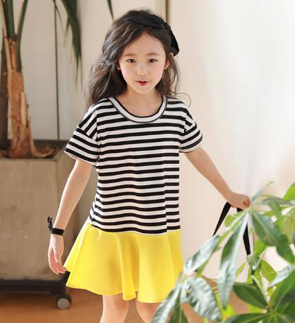 670df1fb6fff Kids Girls Summer Short Sleeve Dresses Children Striped patchwork Dress 4 6  8 10 12 years