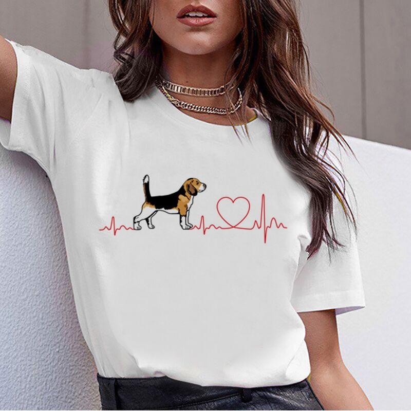 Bull Terrier Rottweiler Kawaii T Shirt Women Beagle Border Collie Malinois Funny T-shirt Cute Whippet Greyhound Tshirt Female