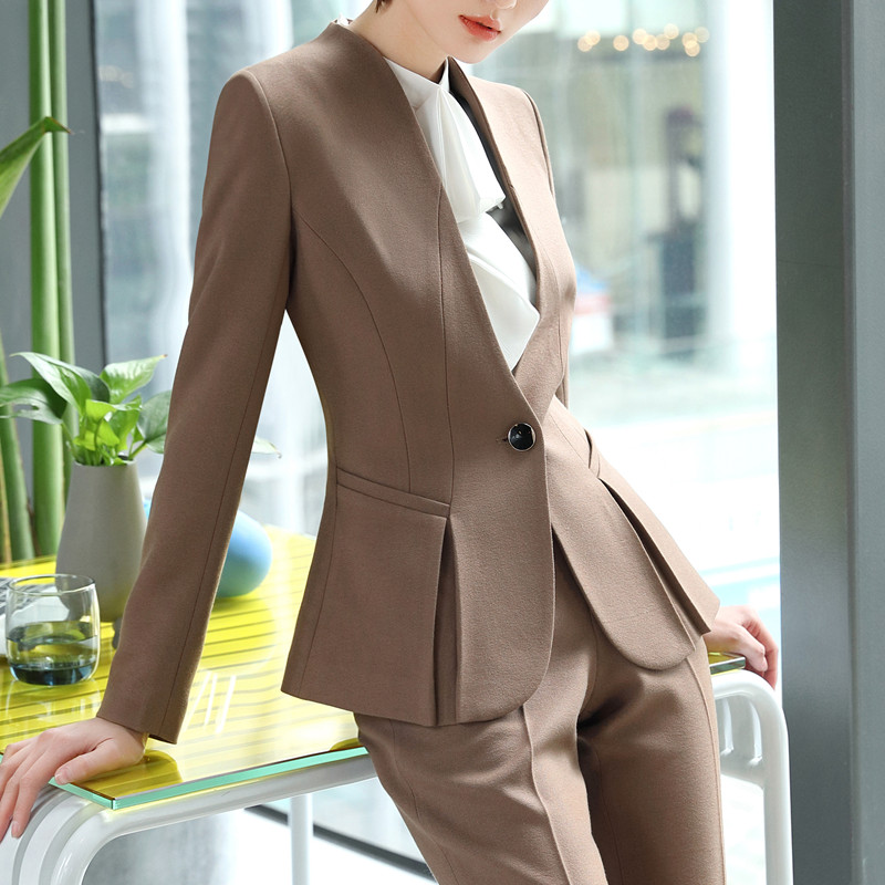 Pantalon Porter Le D'entrevue Formelle Nouveau Pants Blazer Bureau Mince khaki Mode Qualité Costumes Dames Black Travail Plus Taille Haute La Et Pants Ensemble D'affaires qxtH0waU