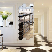 7pcs Hexagon Acrylic Mirror Wall Stickers DIY Art Wall Decor Wall Stickers Home Decor Living Room