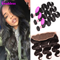 Brazilian Virgin Hair Body Wave With Pre-Plucked Frontal Closure Wet And Wavy Brazilian Body Wave 3 Bundles With Frontals Deal